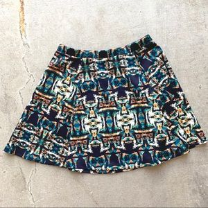 Navy Skater Skirt w/ Multicolored Geometric Design